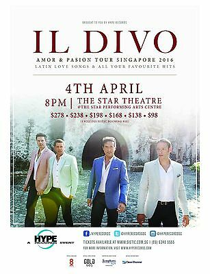 "IL DIVO ""AMOR & PASSION TOUR SINGAPORE 2016"" CONCERT POSTER- Classical Crossover"