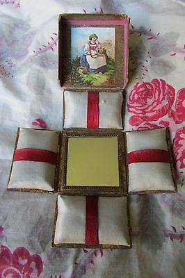 CHARMING ANTIQUE FRENCH BOUDOIR PIN/JEWELLERY SILK COVERED BOX W/MIRROR c1890