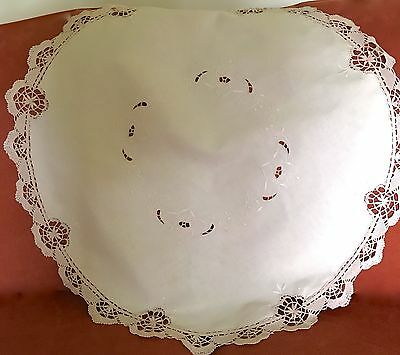 Antique Embroidered Table Doily Large White On White Beige Cluny Lace Border