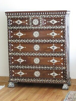 Vintage Syrian chest of drawers inlaid with mother of pearl. Moroccan Arabian