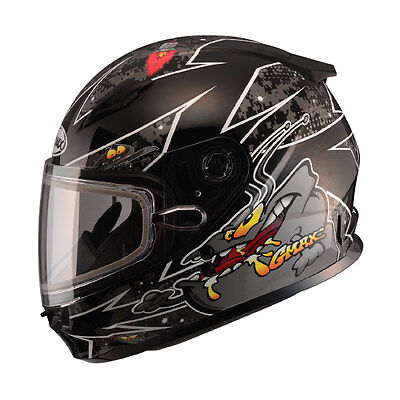 Youth Snow Helmet Large Alien Black Gmax Gm49Y Child Kids Double Lens Shield Dot