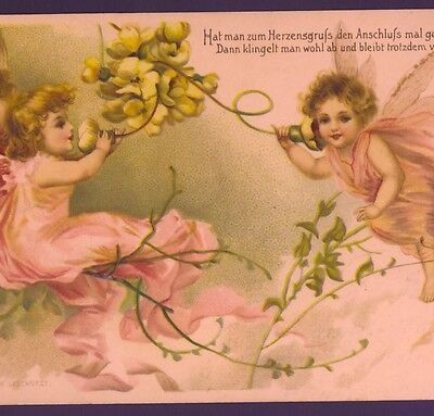 "Scarce.! Clapsaddle Fairies Talk On ""flower"" Telephone,1902 Chromolith Postcard"
