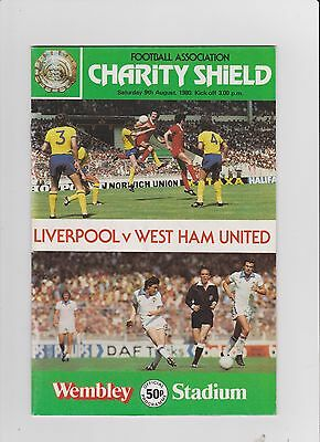 1980 F.A.Charity Shield.Liverpool v West Ham United.