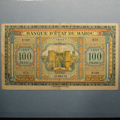 Morocco 100 Francs 1943 P#27a Banknote VF+