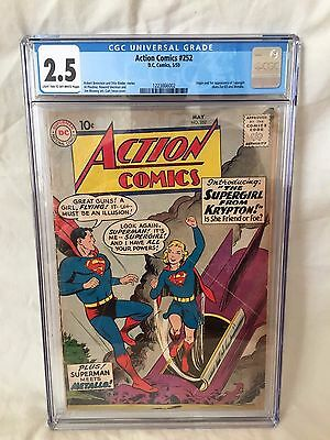DC Comics 1959 ACTION COMICS #252 CGC Graded 2.5 1st App SUPERGIRL Superman