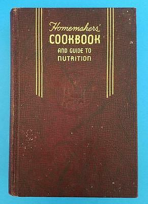 Vintage 1946 Homemaker's Cook Book And Guide To Nutrition 1st Edition Hardcover