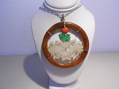 antiques carved  red & white jade pendant 14kt gold ( without chain )
