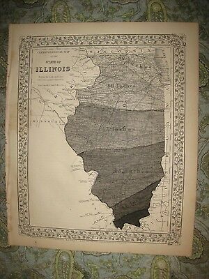 Antique 1870 Illinois Climate Rain Weather Handcolor Map Cook County Chicago Nr