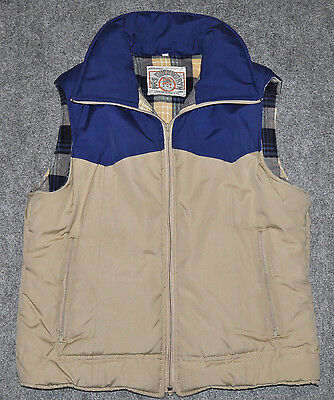 vintage MRS DUCKWORTH 80s WESTERN SKI VEST Insulated w/ Flannel Lining sz L Vest