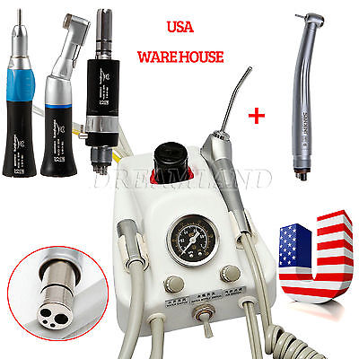 Dental Portable Air Turbine Unit 4 Hole High & Low Speed Handpiece Kit fit NSK