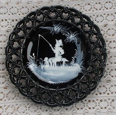"""Vintage Black Amethyst Hand Painted Mary Gregory Plate Boy Fishing 8.5"""" Glass NR"""