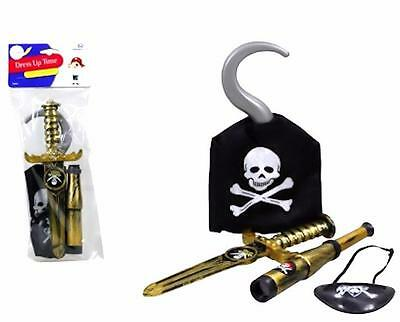 Pirate Costume Accessory Play Set 4 Piece Pack  Hook Dagger Spyglass Eye Patch