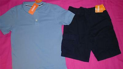 NEW Boys Size 7 Gymboree Outfit Navy Cargo Shorts & Light Blue Polo Shirt NWT