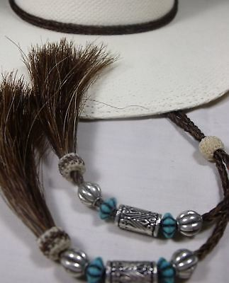 MAGNIFICENT stampede string Horsehair TURQUOISE beads double-loop  hat string