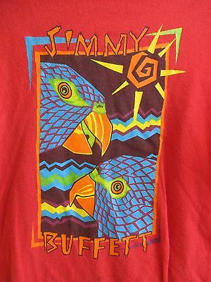 Jimmy Buffett Parrot Margaritaville Concert Tour Mens Xl Red T-Shirt