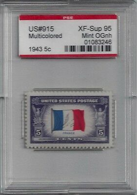 "915 - XF-SUP PSE Graded 95 Encapsulated ""OverRun Countries"" ""France"" Mint NH"