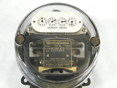 Antique Westinghouse Electric Watthour Meter - 5 Amp - Type Oa - 100 Volt