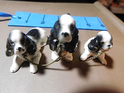 Miniature China Dog Figurines Vintage 1950's English Springer Spaniels w/ Chain