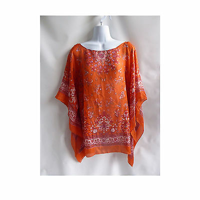 Vintage 60s Blouse One size Orange Silk Tribal Hippie Boho Kaftan Tunic 70s