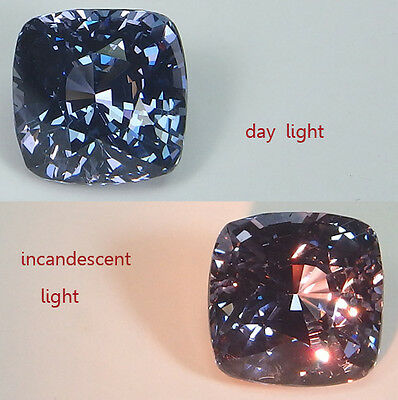 GIA Certified Natural Spinel Cushion Blue changing to Violet 3.21 ct