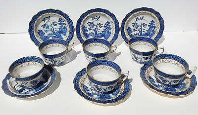 Set 6 Booth's Real Old Willow Oversize Tea Cups & Saucers Chinoiserie Gold Rim