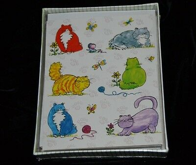 Note Cards FAT CATS 8 Boxed by RED FARM STUDIO Yarn Mouse Butterflies Sealed!