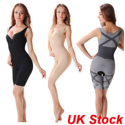 UK Womens Full Body Shaper Underbust Tummy Control Slimming Bodysuit Shapewear