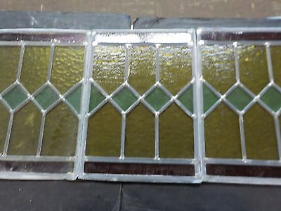 Lot Of 3: Antique Stain Glass Window Section Panel
