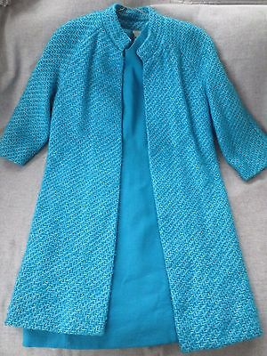 Vintage 1960's Eve Le Coq California Blue Wool Dress & Tweed Jacket Style 2932