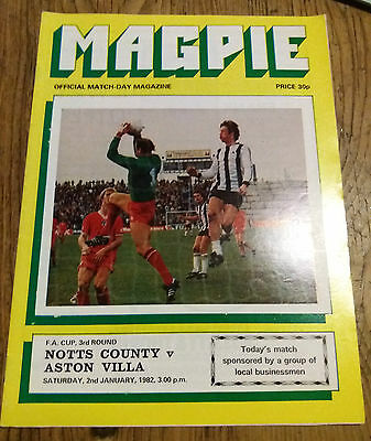 Notts County  V Aston Villa   Fa  Cup 3Rd Round  1982