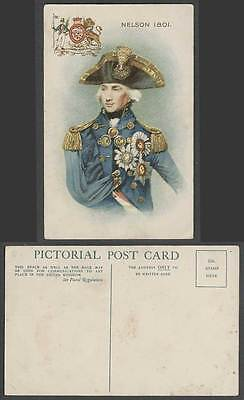 Vice Admiral Horiato Nelson 1801 Coat of Arms Duke of Bronte Old Colour Postcard