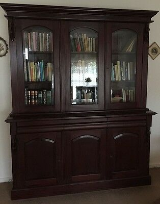 Antique Mahogany Bookcase Library Display Cabinet