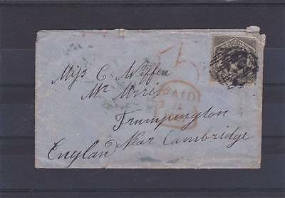 New South Wales 1856 Surcharged Postal History Cover To England