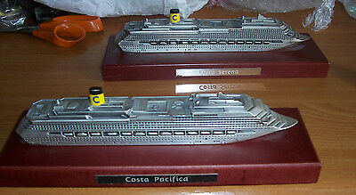 Model metal cruise ships Costa Pacifica & Serena on base Italian