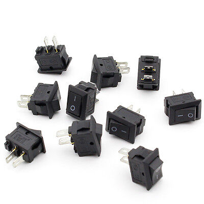 10pcs 10X15 mm-SPST-2PIN-ON-OFF-Boat-Rocker-Switch-6A-250V-Car-Dash-Dashboard