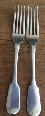 Fine Pair Of Victorian Heavy Solid Silver Table Forks - London 1856 - 142G