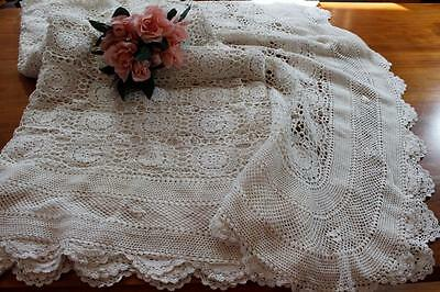 Vintage Crochet Lace Bedspread - Off White - Tablecloth -  Large 240 x 275 cms