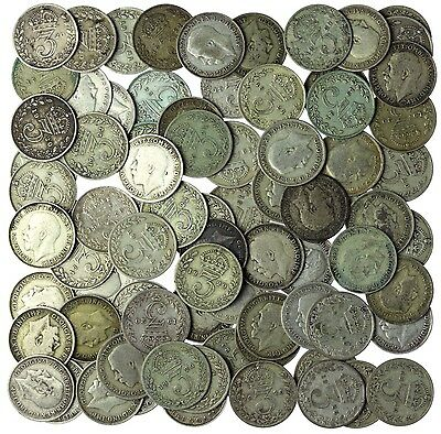Lot of 80 George V Threepence Pre-1947 .500 Silver 110g