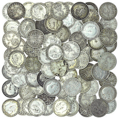Lot of 80 George V Threepence Pre-1920 .925 Silver 110g
