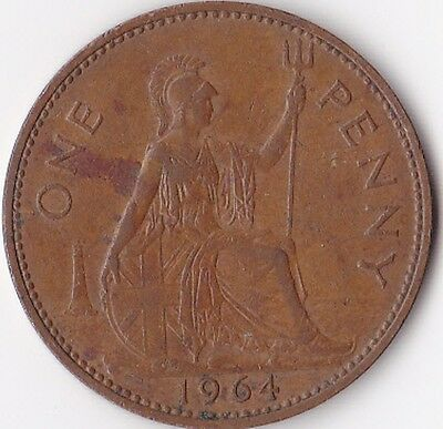 One Penny Coin (1d) issued 1964 - Elizabeth II