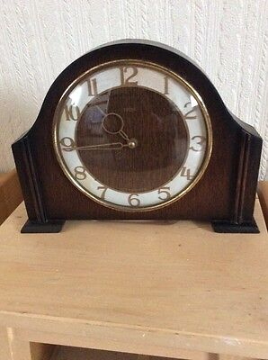 """Vintage Art Deco Style Wind -Up Smiths Mantle Clock """"working"""" #d"""