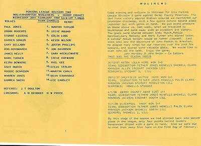 Football Programme>WOLVES RESERVES v DERBY COUNTY RESERVES Feb 1992