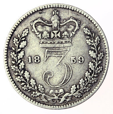 1859 Threepence Victoria Young Head