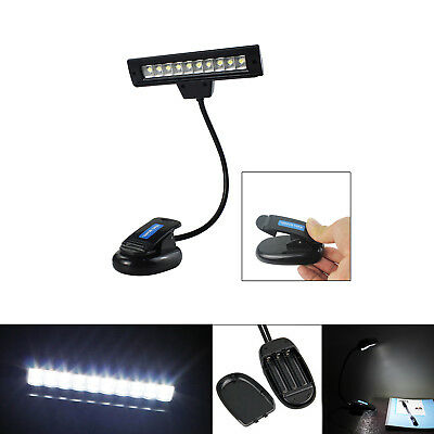 10 LED Adjustable Portable Clip-On Music Stand Reading Lamp Light With USB Cable