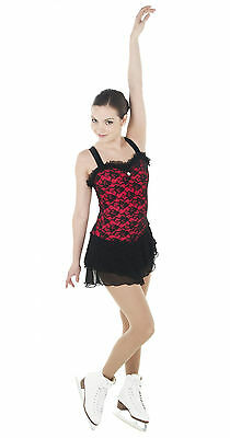 Figure Skating Competition Dress Elite Xpression Black Red Adult Small
