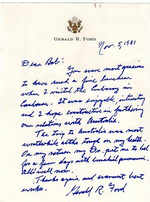 1981 Gerald Ford Handwritten Signed Letter to US Ambassador to Australia