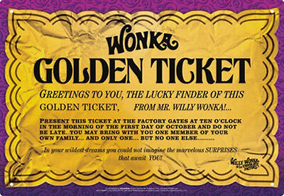 Willy Wonka and the Chocolate Factory Golden Ticket Image Tin Sign Poster NEW