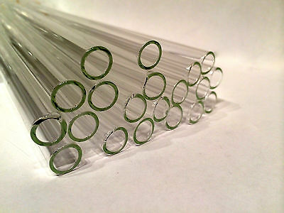 """8"""" Clear Glass Blowing Pyrex 5 Pieces 10mm Tubing Tubes 10 mm OD 1mm Thick"""