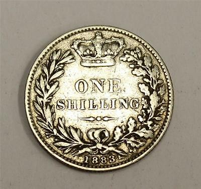 1883 Great Britain Victoria silver Shilling coin VF20 or better