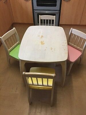 Pin Furniture Children's Wooden Table & Four Chair Set